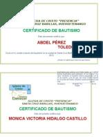 Diploma de Bautismo