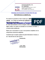 Formato CARTA DE REFERENCIA COMERCIAL