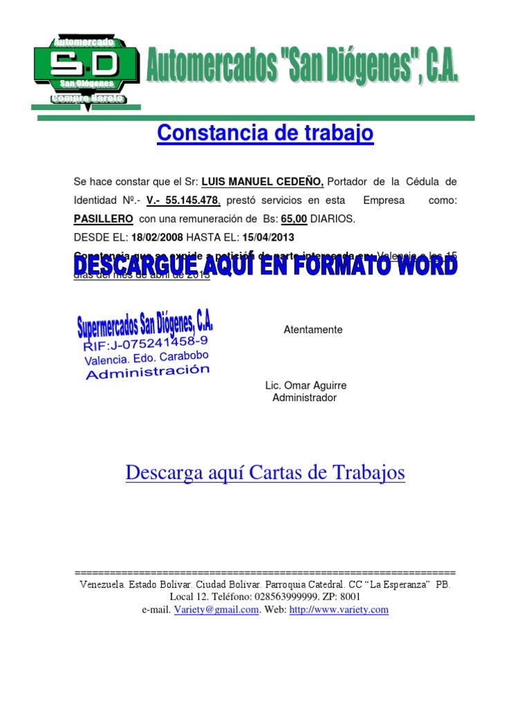 Ejemplo De Carta Verificacion De Empleo Verificación de empleo y ...