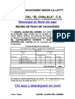 Formato Modelo de recibo de Pago de Vacaciones según la LOTTT