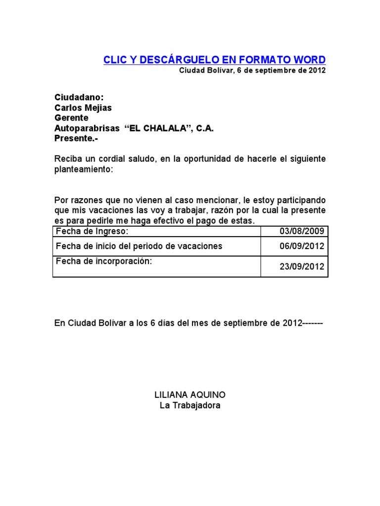 formato recibo pago de vacaciones según la lottt