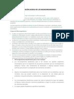 INVESTIGACIÓN ACERCA DE LOS MICROORGANISMOS