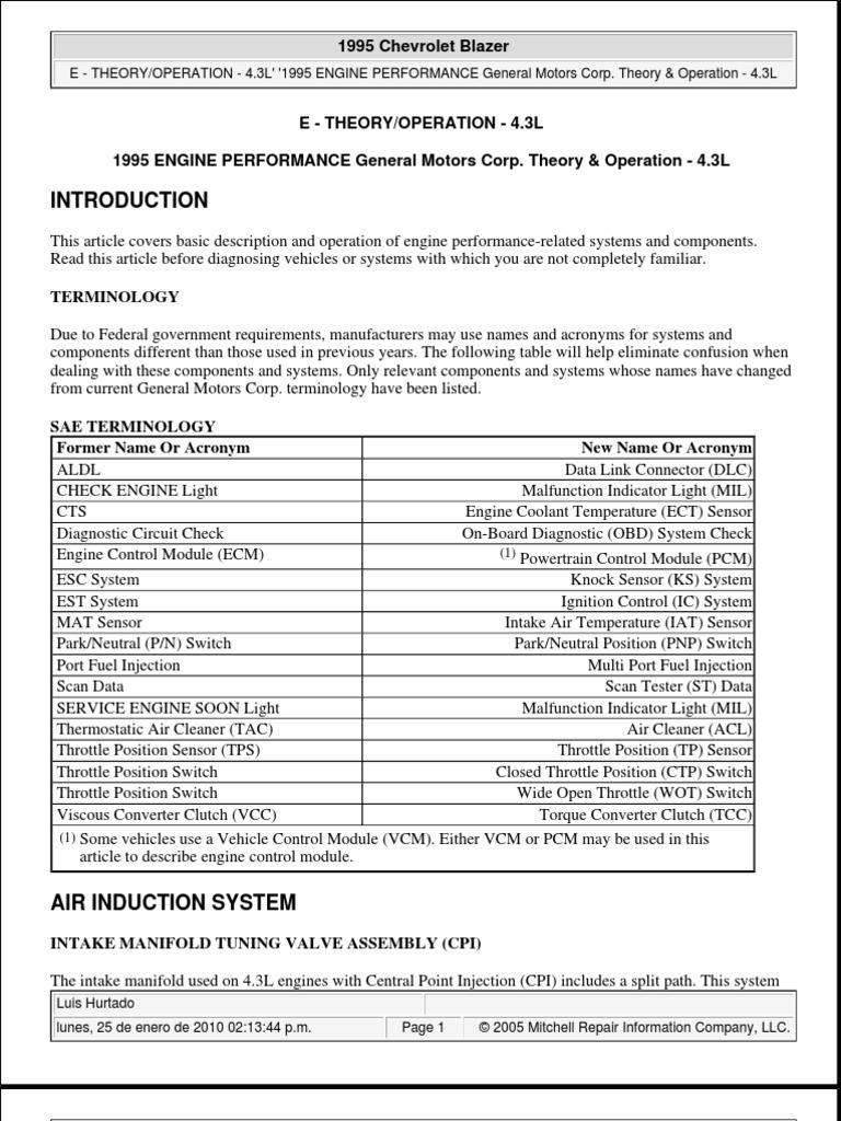 Vortec 43l Teoria Operacion Fuel Injection Ignition System 4 3l Engine Timing Diagram