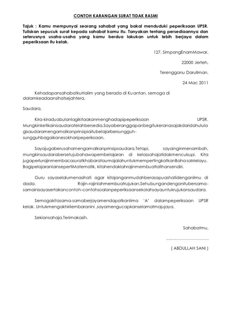 Contoh karangan surat tidak rasmi spiritdancerdesigns Images