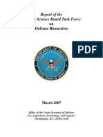 Report of the Defense Science Board Task Force on Defense Biometrics (DOD)