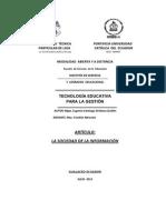 Artículo sobre la sociedad en la información