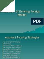 International marketing,Methods of Entering Foreign Market