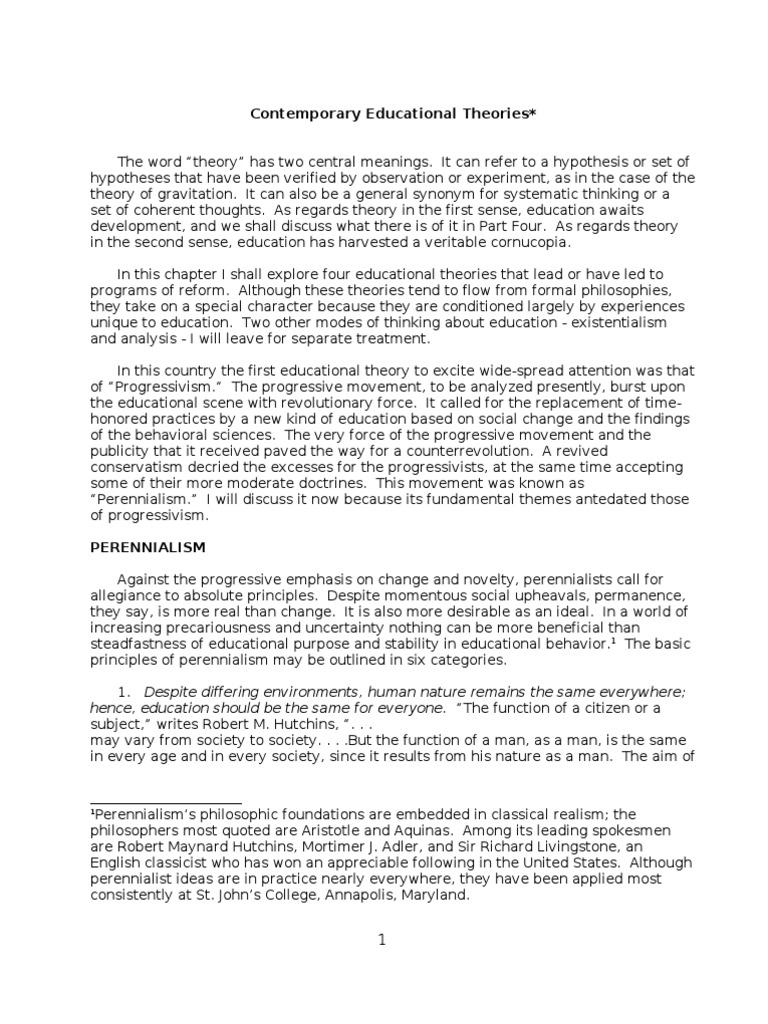 Contemporary Educational Theories | John Dewey | Essentialism