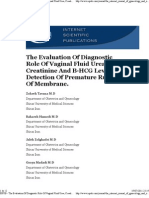 ISPUB - The Evaluation Of Diagnostic Role Of Vaginal Fluid Urea, Creatinine And Β-HCG Level For Detection Of Premature Rupture Of Membrane