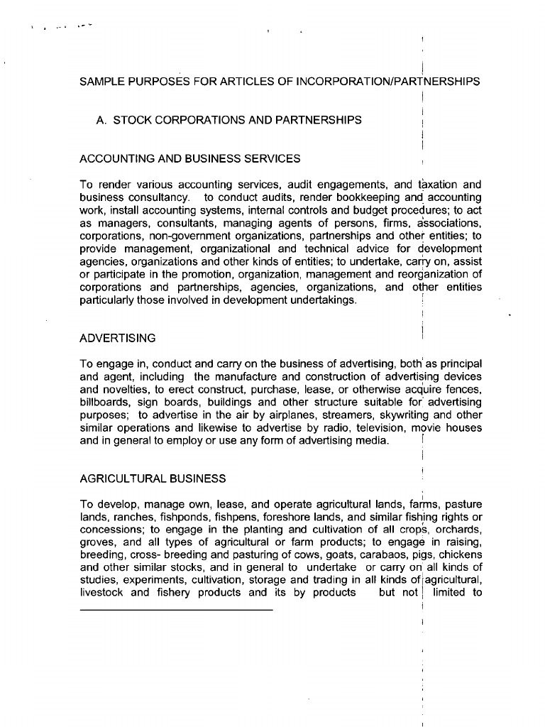 Articles of incorporation sample of purposes from sec for Articles of partnership template