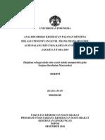Analisis Risiko Kesehatan Pajanan Benzena Melalui Penentuan Level Trans Trans Muconic Acid Dalam Urin Pada Karyawan SPBU X Jakarta Utara 2010