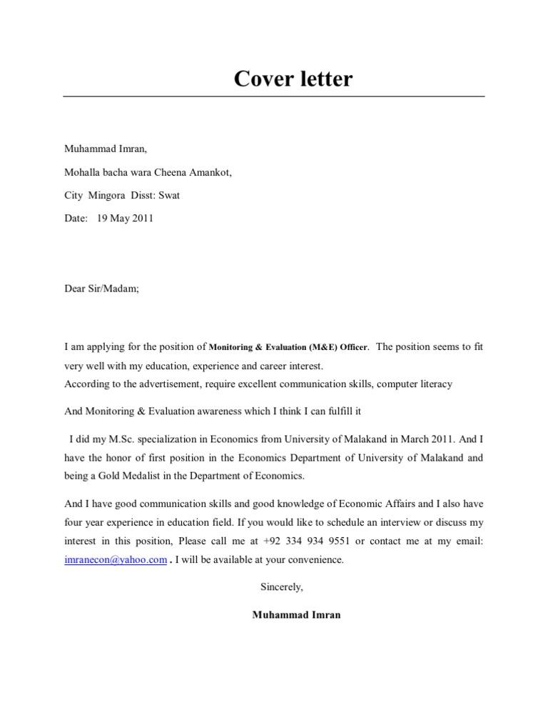 cover letter m u0026e