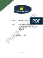 Prepking HP0-725 Exam Questions