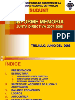 Informe Memoria Sudunt 2007-2008 -Prof. Rojas