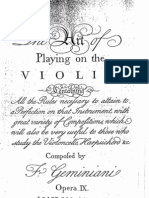 Geminiani, Playing the Violin