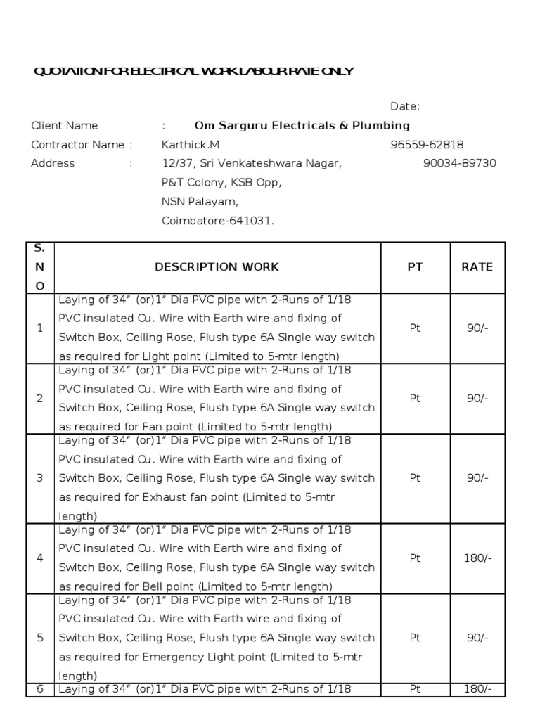 Telephone Wiring Contractor In Karachi Free Vehicle Diagrams Home Phone Diagram Quotation For Electrical Work Labour Rate Only Rh Scribd Com Color Code