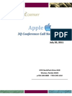 Apple Conference Call Notes 3Q 2011