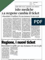Esami e visite mediche la Regione cambia il ticket (Corriere della sera)