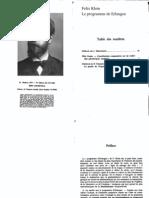 Klein,Le Programme de Erlangen