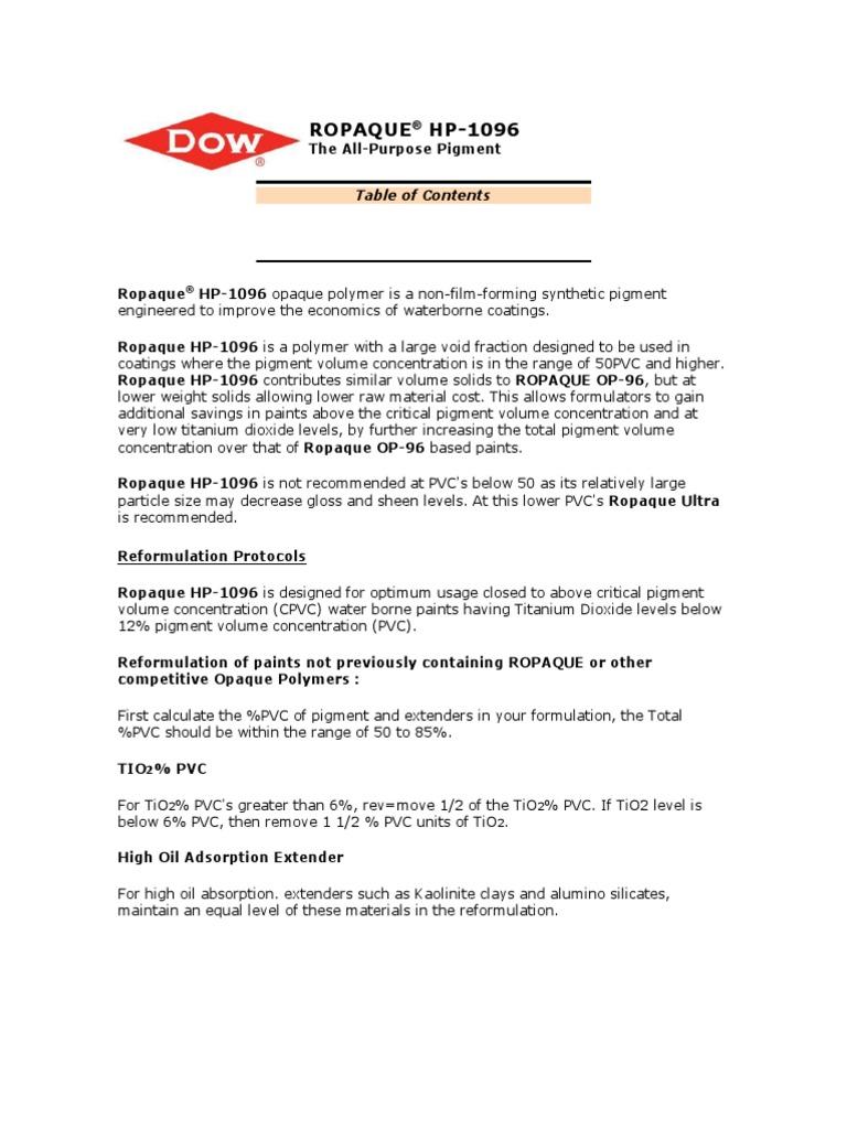 Ropaque HP-1096 | Titanium Dioxide | Paint