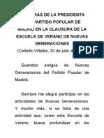 Discurso íntegro de Esperanza Aguirre durante la clausura de la escuela de verano de NNGG Madrid