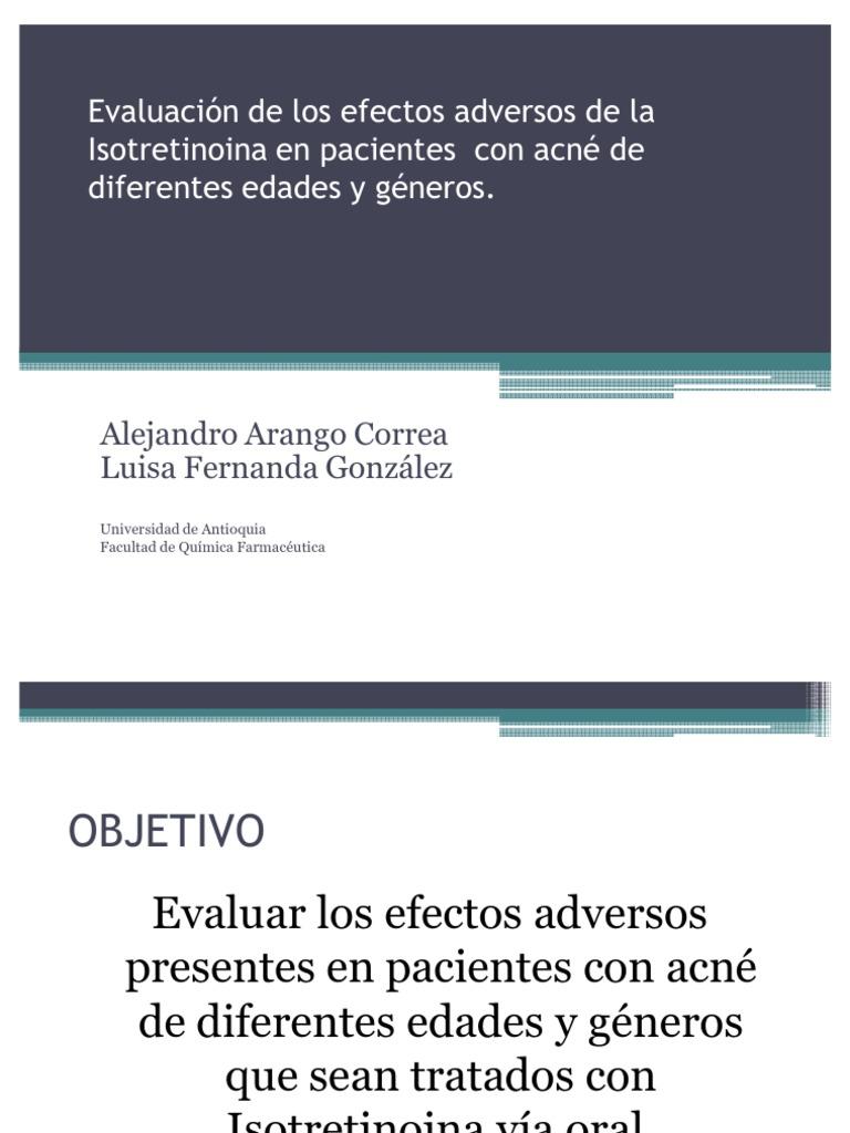 Adversos de isotretinoina pdf la efectos