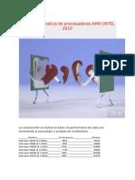 Tabla Comparativa de Procesadores AMD INTEL 2010
