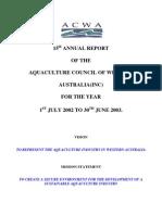 ACWA Annual Report 15th 2003