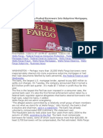 $85 MILLION DOLLAR FINE -Wells Fargo Illegally Pushed Borrowers Into Subprime Mortgages & Falsified Loan Docs - ARTICLE AND COMPLAINT HERE - JULY 2011