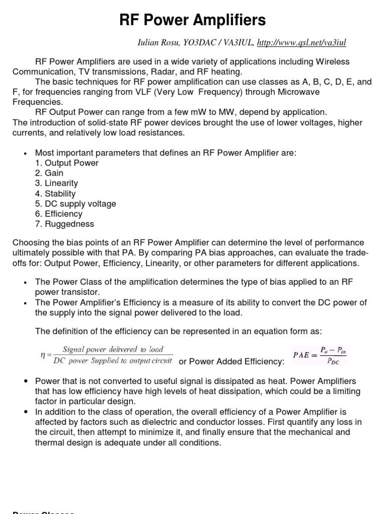 Rf Power Amplifiers Amplifier Field Effect Transistor Amp