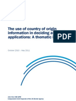 Use of Country of Origin Information in Deciding Asylum Applications