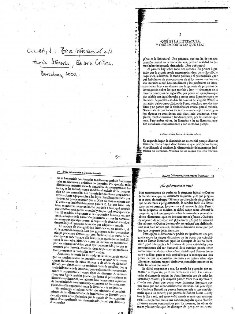 Culler - Introducción a la teoría literaria