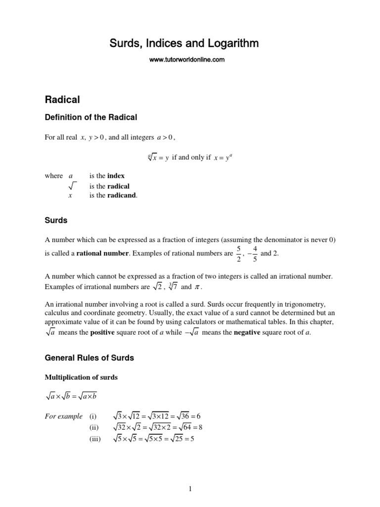 Indices Surds And Logarithm Logarithm Fraction Mathematics