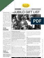 Isubilo Zambia GiftList  Leaflet