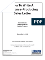 How Write a Response Producing Sales Letter