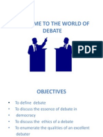 Welcome to the World of Debate