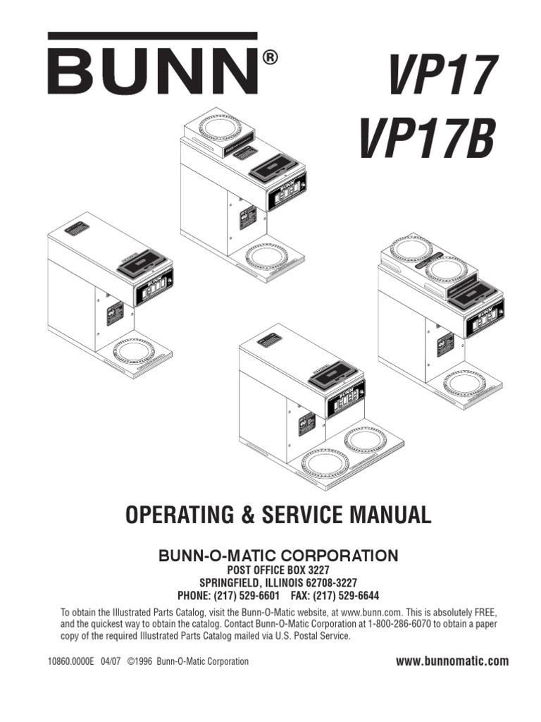 Bunn Coffee Maker Parts Manual For Wiring Diagram Vp 17 Diagrams Schemes