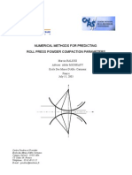Numerical Methods for Predicting Roll Press Powder Comp Action Parameters