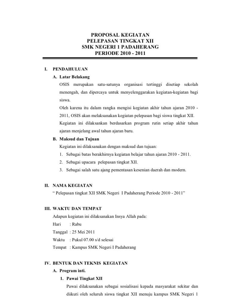 Proposal Kegiatan Perpisahan Xii 2010 2011
