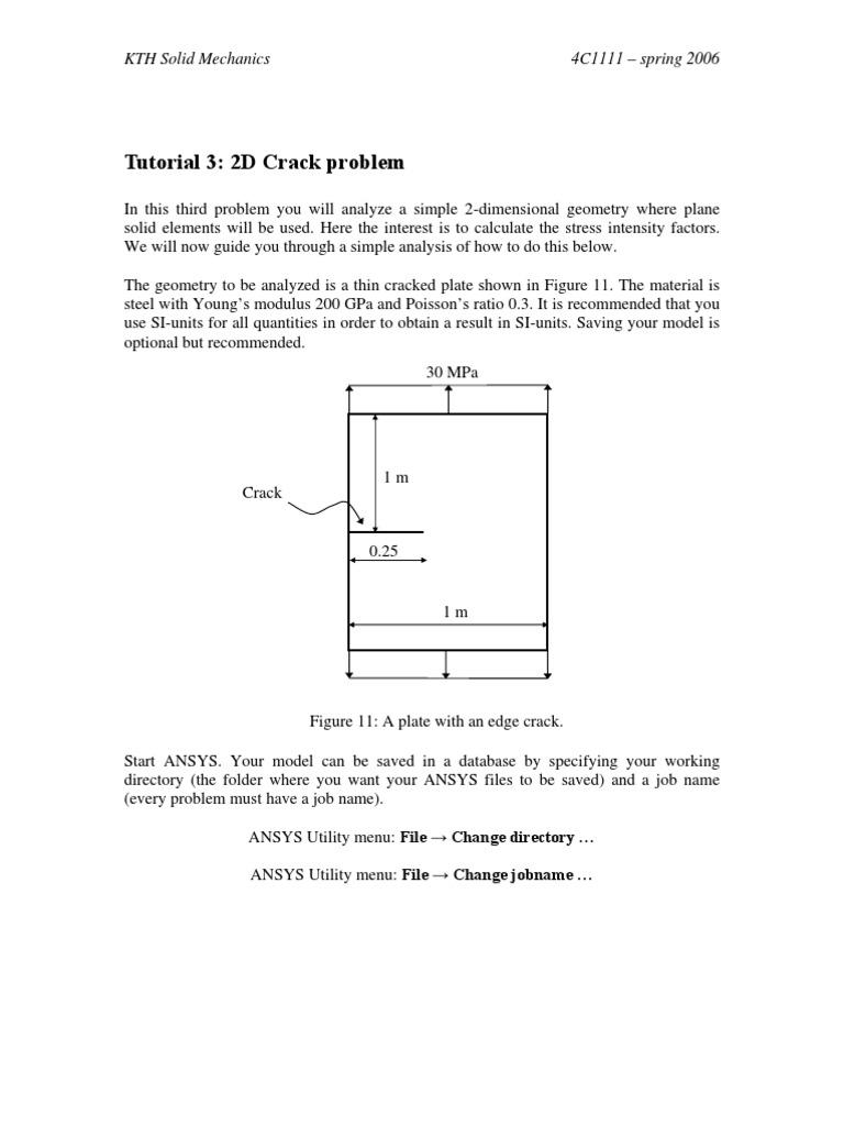 ANSYS Tutorial-Crack Problem | Fracture | Stress (Mechanics)