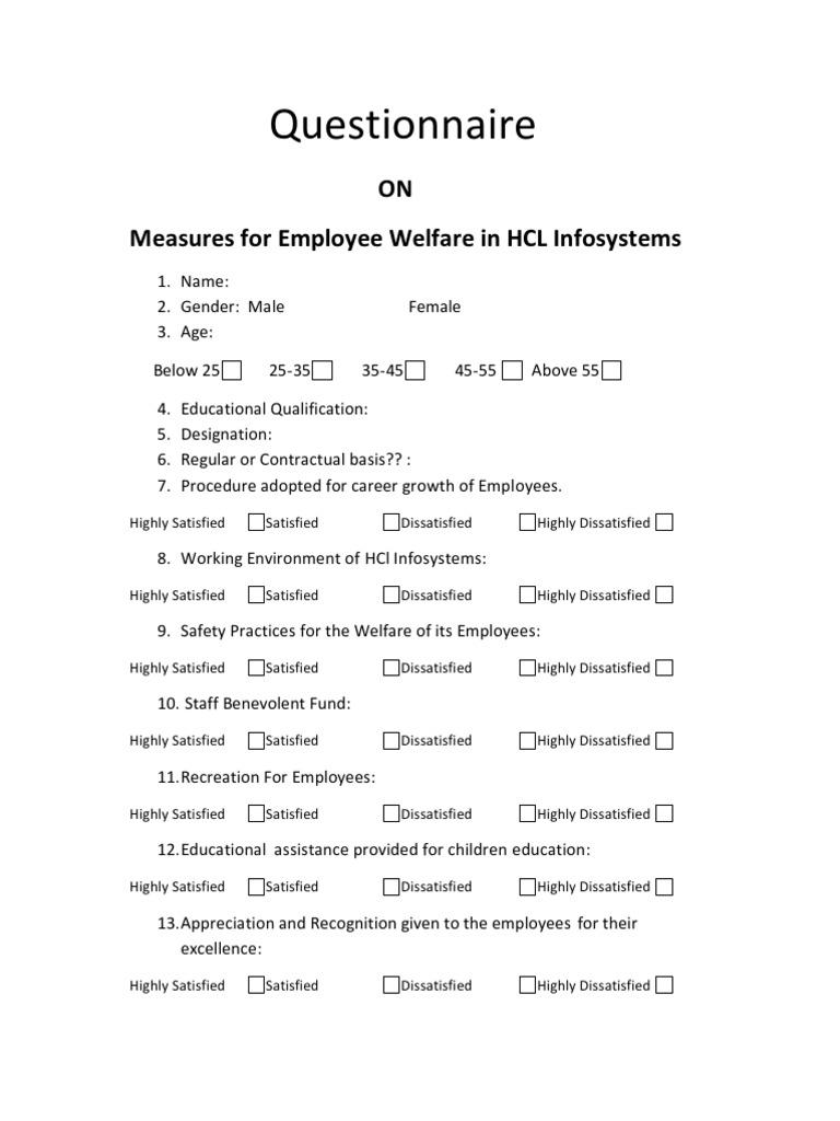 employee welfare questionnaire