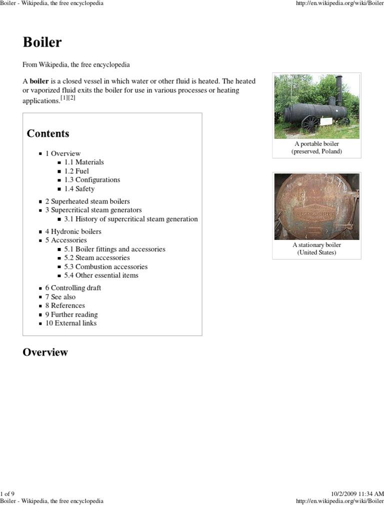 Boiler - Wikipedia | Boiler | Steam