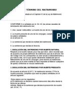 CAUSALES DE TÉRMINO DEL MATRIMONIO