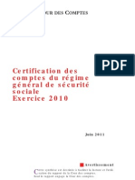 Synthese Rapport Certification Securite Sociale Exercice 2010