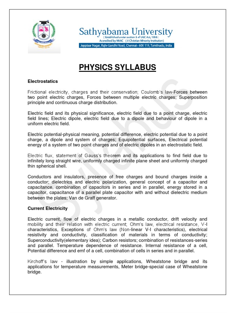 Physics Syllabus | Electric Current | Magnetic Field