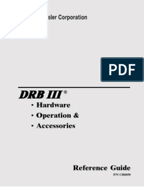 Sprinter DRB III Manual | Manufactured Goods | Electronics