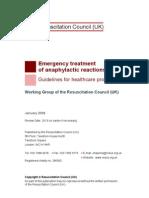 ''Anaphylactic Reaction'' UK Resuscitation Council -2010