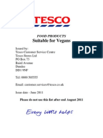 Tesco Vegan List August 2011