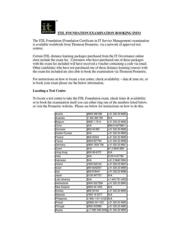 Itil Foundation Examination Booking Info Voucher Test Assessment