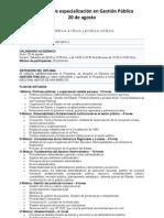 Programa de especialización en Gestión Pública 2011